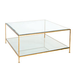 Quadro Hammered Gold Leaf Square Coffee Table With Beveled Glass Tops