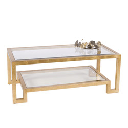 Winston Gold Leaf Two Tier Coffee Table With Clear Beveled Glass