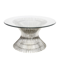 "Powell Polished Stainless Coffee Table With 42"" Dia Glass"