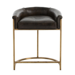 Calvin Counter Stool - Antique Brass and Brindle Leather