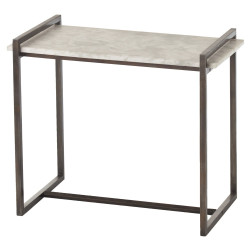 Hollis Side Table - Dark Natural Iron/White Marble