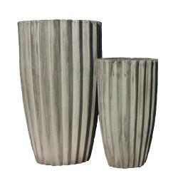 Anamese Fluted Vase Set of 2 - Apple Green