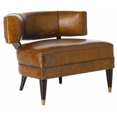 Laurent Chair - Mottled Brown Leather/Mahogany Wood/Antique Brass