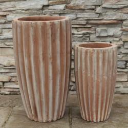 Anamese Fluted Vase Set of 2 - Antique Terra Cotta