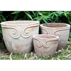 Anamese Fortuna Scroll Round Planter Set of 3