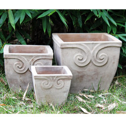 Anamese Fortuna Scroll Square Planters Set of 3