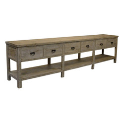 Reclaimed Lumber Console W/ 6 Drawers