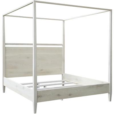 Washed Oak Modern 4-Poster Bed - Cal King