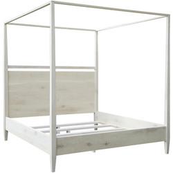 Washed Oak Modern 4-Poster Bed - East. King