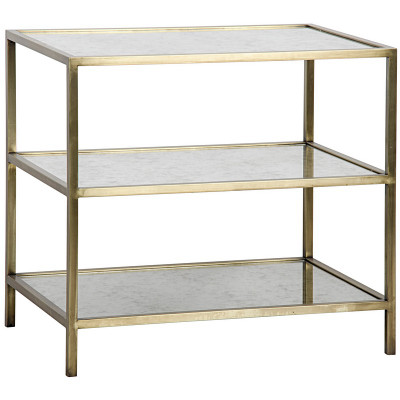3 Tier Side Table w/ Antiqued Mirror Antique Brass Finish