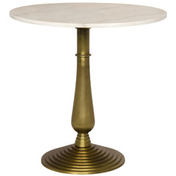 Alida Side Table - Cast Iron and Stone - Gold Finish