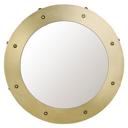 Clay Mirror - Small - Antique Brass Finish