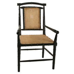 Colonial Bamboo Arm Chair w/ Caning - Hand Rubbed Black