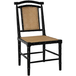 Colonial Bamboo Chair w/ Caning - Hand Rubbed Black