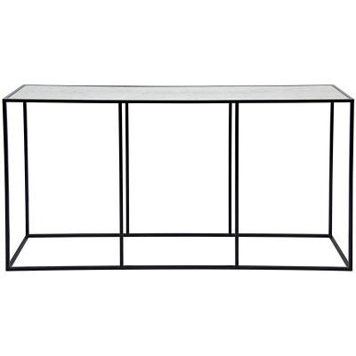 Convention Sofa Table - Metal & Antiqued Mirror