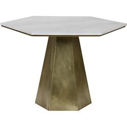 Demetria Table - Quartz - Antique Brass Finish