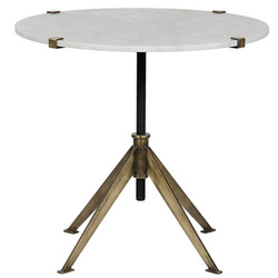 Edith Adjustable Side Table - Large - Antique Brass Finish
