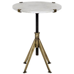 Edith Adjustable Side Table - Small - Antique Brass Finish