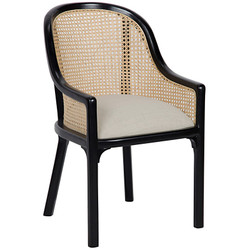 Gaston Chair W/ Caning and Linen