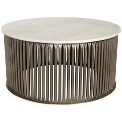 Lenox Coffee Table - White Stone - Antique Silver Finish