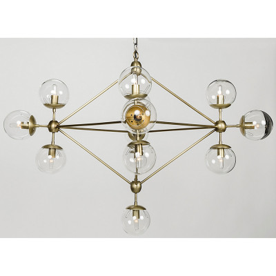 Pluto Chandelier - Small - Antique Brass Finish - Noir Pluto Chandelier - Small - Antique Brass Finish