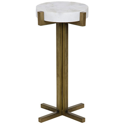 Sardo Side Table - Quartz - Antique Brass Finish