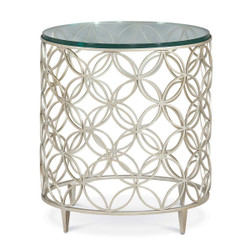 Bubbles - Round Glass Top Side Table with Fretwork Base