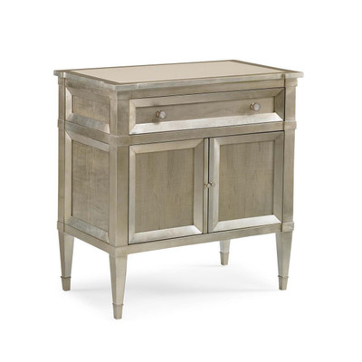 Buona Notte - Smoke Finish Nighstand with Silver Leaf Accents