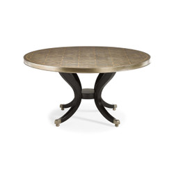 Center Of Attention - Silver Leaf Round Dining Table with Black Pedestal Base