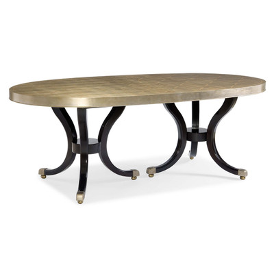 Draw Attention   Silver Leaf Oval Extension Dining Table