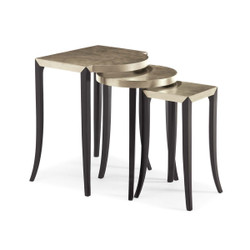 Out & About - Silver Leaf and Ebony Nesting Tables - set of 3