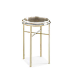 Sparkler - Acrylic and Crystal Accent Table with Stainless Steel Base