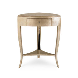 Tres, Tres Chic - Gold Metallic Accent Table with Drawer and Shelf