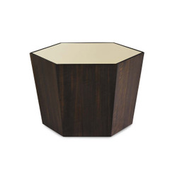 "What'S Your Point - Gold Mirrored Top 27"" Hexagonal Cocktail Table"