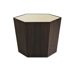 "What'S Your Point - Gold Mirrored Top 28"" Hexagonal Cocktail Table"