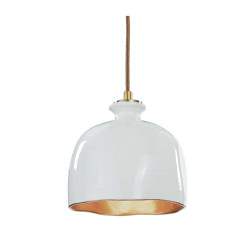 Bianca Ceramic Dome Pendant in Gloss White with Gold