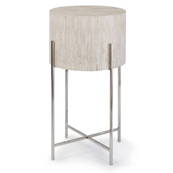 Bone Drum Table - Polished Nickel