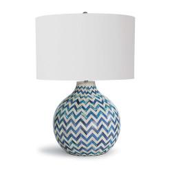 Chevron Bone Table Lamp - Indigo