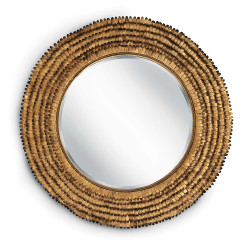 Gold Leafed Round Petal Mirror