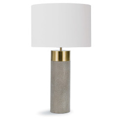 Harlow Ivory Grey Shagreen Cylinder Table Lamp