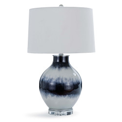Indigo Stripe Glass Table Lamp
