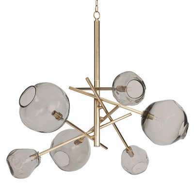 Molten Chandelier in Brass - Smoke Glass