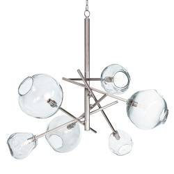 Molten Chandelier in Nickel - Clear Glass