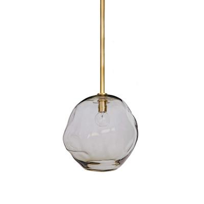 Molten Large Pendant in Brass - Smoke Glass