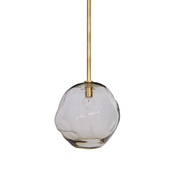 Molten Large Pendant in Brass - Smoke Glass