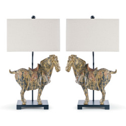 Pair of Dynasty Horse Table Lamps