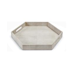 Shagreen Hex Tray - Ivory Grey