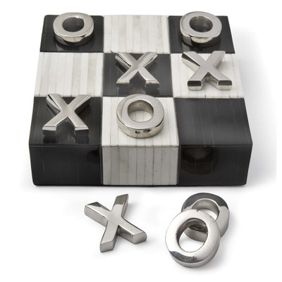 Tic Tac Toe Flat Board with Nickel Pieces