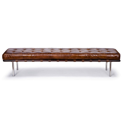 Tufted Gallery Bench in Vintage Leather