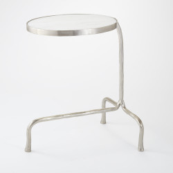 Cantilever Table - Nickel w/White Marble Top